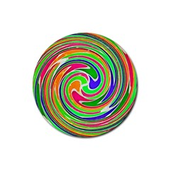 Colorful Whirlpool Watercolors                                                			rubber Coaster (round) by LalyLauraFLM