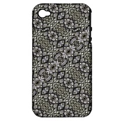 Silver Oriental Ornate  Apple Iphone 4/4s Hardshell Case (pc+silicone) by dflcprints