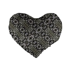 Silver Oriental Ornate  Standard 16  Premium Flano Heart Shape Cushions by dflcprints