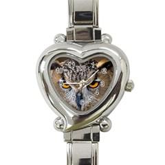 Great Horned Owl 1 Heart Italian Charm Watch by jackiepopp