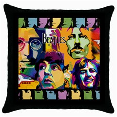 Beatles Black Throw Pillow Case by DryInk