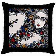 Flower woman Square Black Throw Pillow Case by DryInk