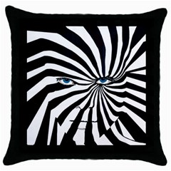 Zebraface Square Black Throw Pillow Case by DryInk