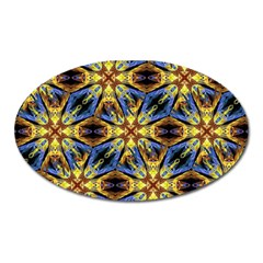 Vibrant Medieval Check Oval Magnet by dflcprints