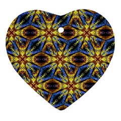 Vibrant Medieval Check Heart Ornament (2 Sides) by dflcprints