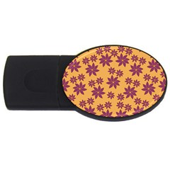 Purple And Yellow Flower Shower USB Flash Drive Oval (2 GB)