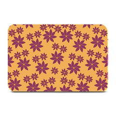 Purple And Yellow Flower Shower Plate Mats by CircusValleyMall