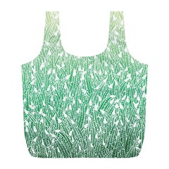Green Ombre Feather Pattern, White, Full Print Recycle Bag (l) by Zandiepants