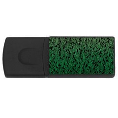 Green Ombre feather pattern, black, USB Flash Drive Rectangular (4 GB) by Zandiepants
