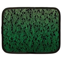 Green Ombre Feather Pattern, Black, Netbook Case (xxl) by Zandiepants