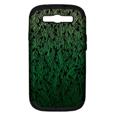 Green Ombre Feather Pattern, Black, Samsung Galaxy S Iii Hardshell Case (pc+silicone) by Zandiepants