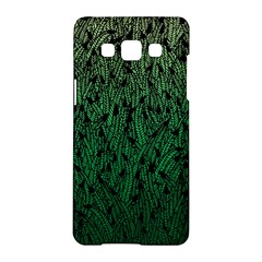 Green Ombre Feather Pattern, Black, Samsung Galaxy A5 Hardshell Case  by Zandiepants
