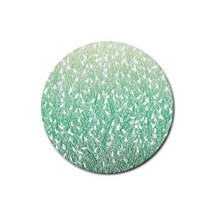 Green Ombre Feather Pattern, White, Rubber Coaster (round) by Zandiepants