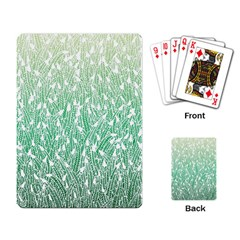 Green Ombre Feather Pattern, White, Playing Cards Single Design by Zandiepants