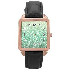 Green Ombre Feather Pattern, White, Rose Gold Leather Watch  by Zandiepants