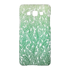 Green Ombre Feather Pattern, White, Samsung Galaxy A5 Hardshell Case  by Zandiepants