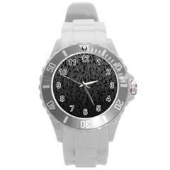 Grey Ombre Feather Pattern, Black, Round Plastic Sport Watch (l) by Zandiepants