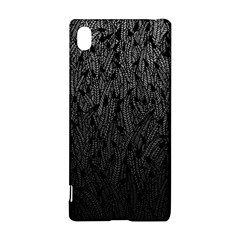 Grey Ombre feather pattern, black, Sony Xperia Z3+ Hardshell Case by Zandiepants