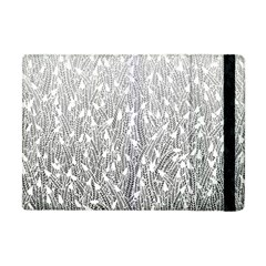 Grey Ombre Feather Pattern, White, Apple Ipad Mini Flip Case by Zandiepants