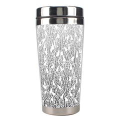 Grey Ombre Feather Pattern, White, Stainless Steel Travel Tumbler by Zandiepants