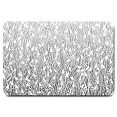 Grey Ombre Feather Pattern, White, Large Doormat by Zandiepants