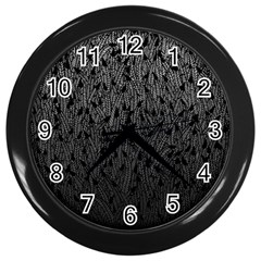 Grey Ombre Feather Pattern, Black, Wall Clock (black) by Zandiepants