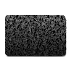 Grey Ombre Feather Pattern, Black, Plate Mat by Zandiepants