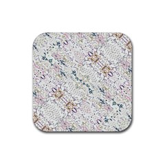 Oriental Floral Ornate Rubber Square Coaster (4 Pack)  by dflcprints