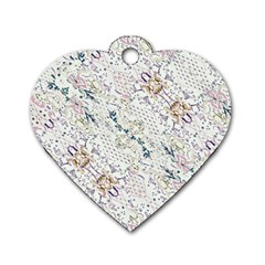 Oriental Floral Ornate Dog Tag Heart (one Side) by dflcprints