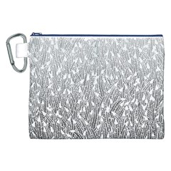 Grey Ombre Feather Pattern, White, Canvas Cosmetic Bag (xxl) by Zandiepants
