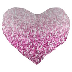 Pink Ombre Feather Pattern, White, Large 19  Premium Flano Heart Shape Cushion by Zandiepants