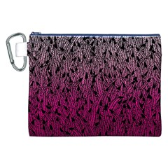 Pink Ombre Feather Pattern, Black, Canvas Cosmetic Bag (xxl) by Zandiepants
