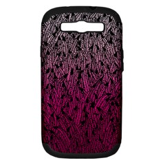 Pink Ombre Feather Pattern, Black, Samsung Galaxy S Iii Hardshell Case (pc+silicone) by Zandiepants