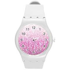 Pink Ombre Feather Pattern, White, Round Plastic Sport Watch (m) by Zandiepants