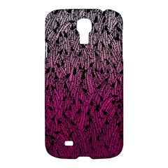 Pink Ombre feather pattern, black, Samsung Galaxy S4 I9500/I9505 Hardshell Case