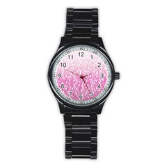 Pink Ombre Feather Pattern, White, Stainless Steel Round Watch by Zandiepants