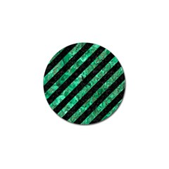 Stripes3 Black Marble & Green Marble Golf Ball Marker by trendistuff
