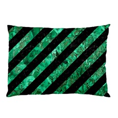 Stripes3 Black Marble & Green Marble Pillow Case (two Sides) by trendistuff