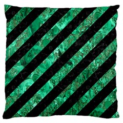 Stripes3 Black Marble & Green Marble Large Cushion Case (one Side) by trendistuff