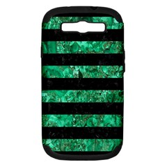 Stripes2 Black Marble & Green Marble Samsung Galaxy S Iii Hardshell Case (pc+silicone) by trendistuff