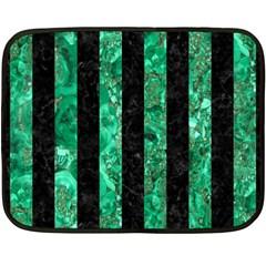 Stripes1 Black Marble & Green Marble Double Sided Fleece Blanket (mini) by trendistuff