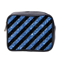 Stripes3 Black Marble & Blue Marble Mini Toiletries Bag (two Sides) by trendistuff