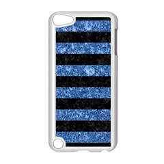 Stripes2 Black Marble & Blue Marble Apple Ipod Touch 5 Case (white) by trendistuff