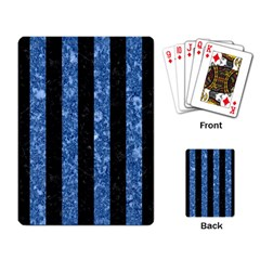 Stripes1 Black Marble & Blue Marble Playing Cards Single Design by trendistuff