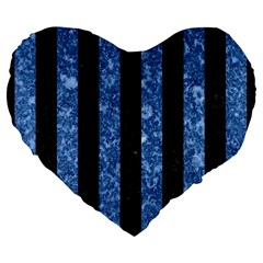 Stripes1 Black Marble & Blue Marble Large 19  Premium Flano Heart Shape Cushion by trendistuff