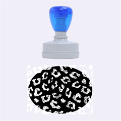 Skin5 Black Marble & Blue Marble (r) Rubber Stamp Oval by trendistuff