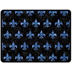 Royal1 Black Marble & Blue Marble (r) Double Sided Fleece Blanket (large) by trendistuff