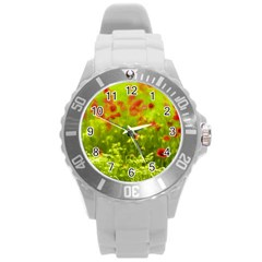 Poppy I Round Plastic Sport Watch (l) by colorfulartwork