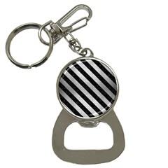 Stripes3 Black Marble & Silver Brushed Metal (r) Bottle Opener Key Chain by trendistuff