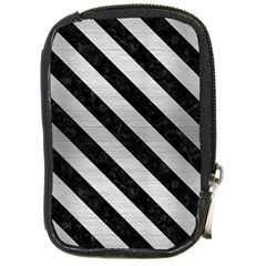 Stripes3 Black Marble & Silver Brushed Metal (r) Compact Camera Leather Case by trendistuff